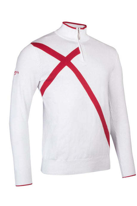 MEN'S ZIP NECK ST. GEORGE CROSS COTTON SWEATER - 'HOTCHKIN'