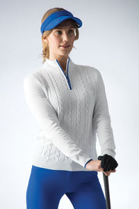 LADIES' ZIP NECK TIPPED CABLE COTTON SWEATER - 'KADY'