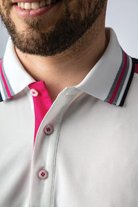 MEN'S PERFORMANCE CONTRAST SHOULDER BIRDSEYE RIB PIQUÉ POLO SHIRT - 'MURRAY'