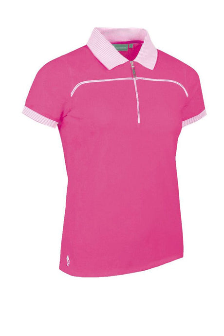 LADIES' ZIP NECK STRIPE COLLAR & CUFFS PIQUÉ POLO SHIRT - 'NADIA'