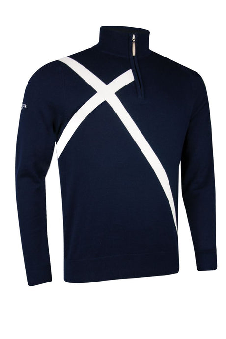 MEN'S ZIP NECK SALTIRE COTTON SWEATER - 'SALTIRE'