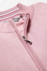 LADIES' ZIP FRONT COTTON LINED SWEATER - 'SHELLEY'