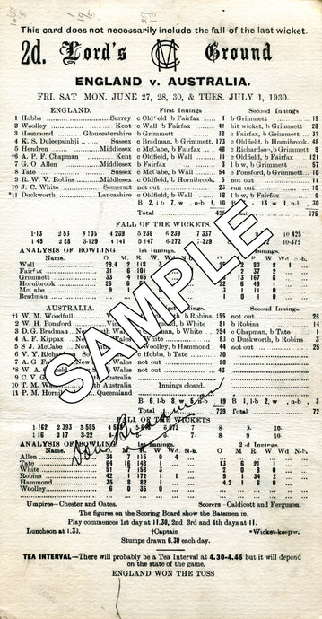 HISTORIC SCORECARDS 1963 - 1999