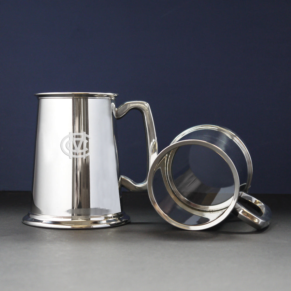 MCC PEWTER TANKARD WITH A GLASS BASE