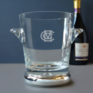 MCC GLASS ICE BUCKET WITH A STERLING SILVER FOOT