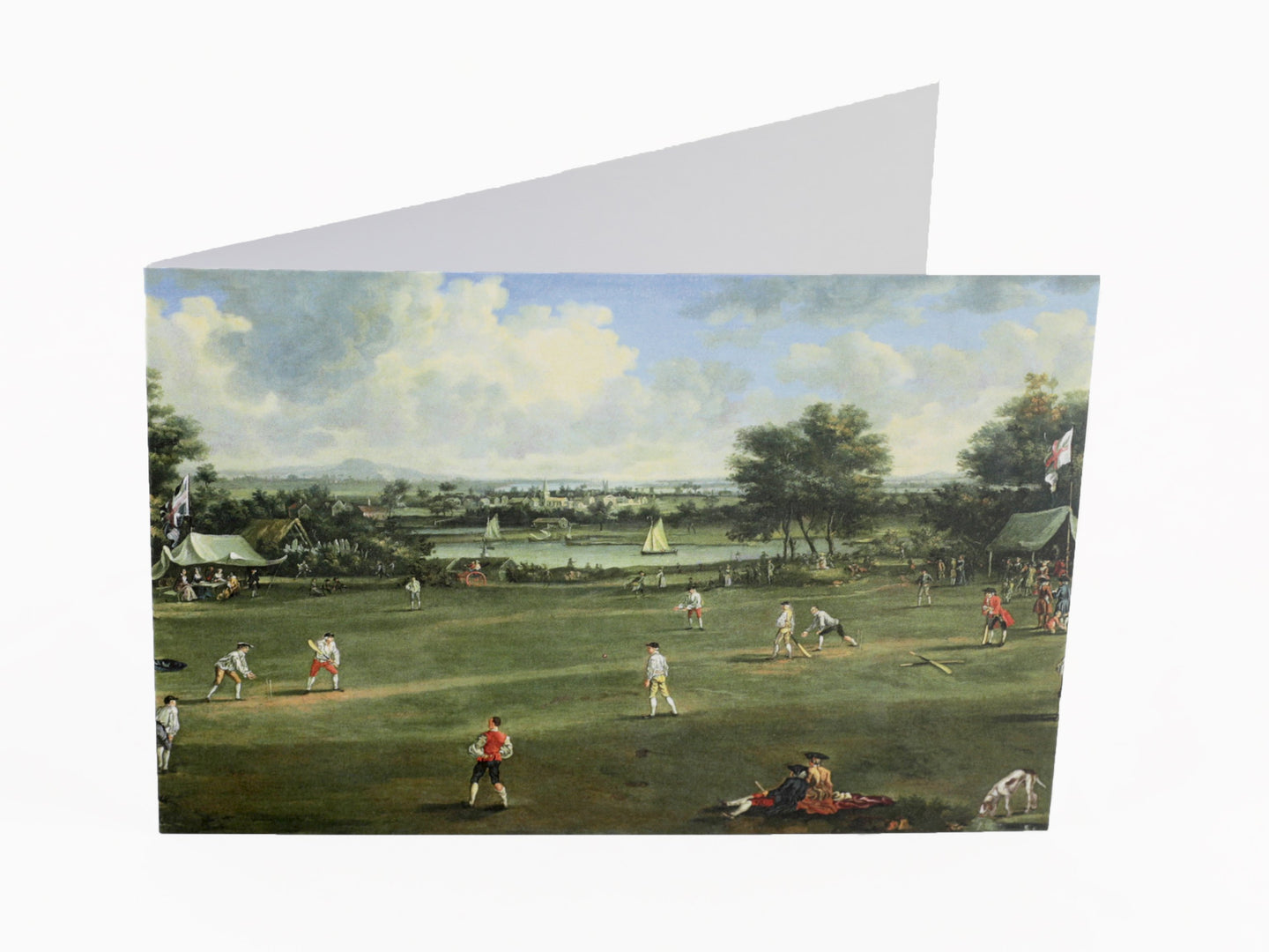 CRICKET MATCH AT BRADING, ISLE OF WIGHT, c.1760 - GREETING CARD & ENVELOPE