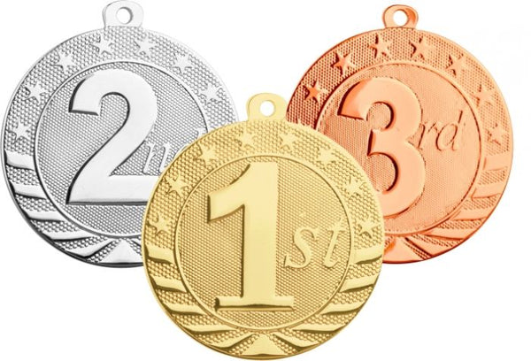 Gold, silver, and bronze medals with first, second and third place design on the front of each