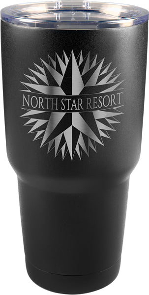 Black 30 oz engraved tumbler. Has a skinny bottom to fit inside a cup holder. Comes with a clear plastic lid.