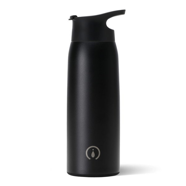 Swig brand matte black 36 oz. water bottle with wide mouth lid and handle.