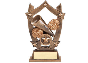 Bronze shield cheerleading trophy featuring two pom poms and a megaphone.