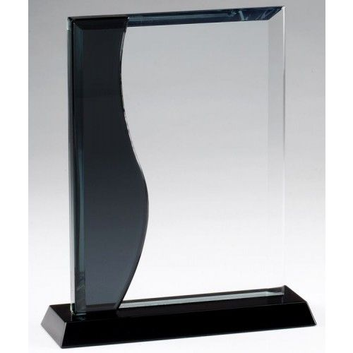crystal award with black wave on side