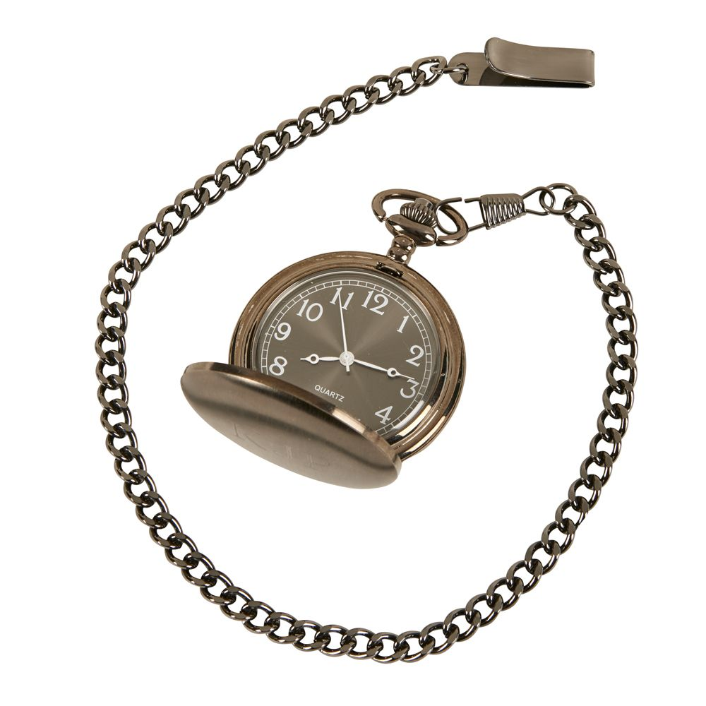 Clock - Gun Metal Pocket Watch