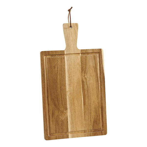 Rectangle shaped acacia wood cutting board with handle.
