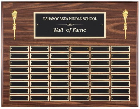 Perpetual Plaque - Horizontal Simluated Walnut Plaque w/ 48 Plates