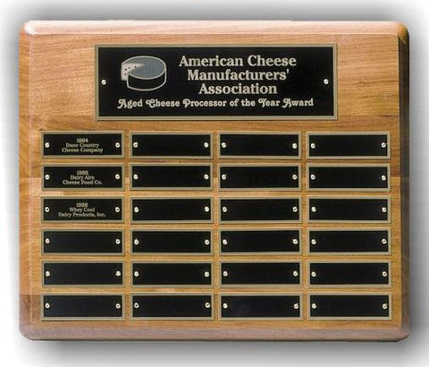 Perpetual Plaque - Horizontal Solid Walnut w/ 24 Plates