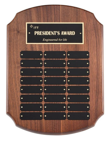 Perpetual Plaque - Clipped Solid Walnut Plaque w/ 24 Plates