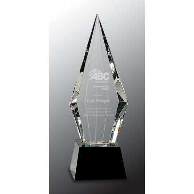 Engraved crystal award featuring a square tapered black glass base. The crstal is triangle shaped and faceted on the back but flat on the front for your engraved message.