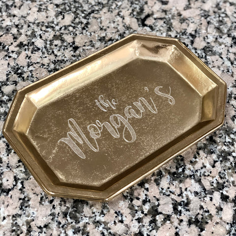 Tray - Gold Octagon Custom Engraved