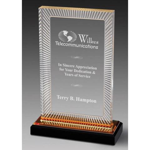 Acrylic Award - Ribbed Gold Rectangle