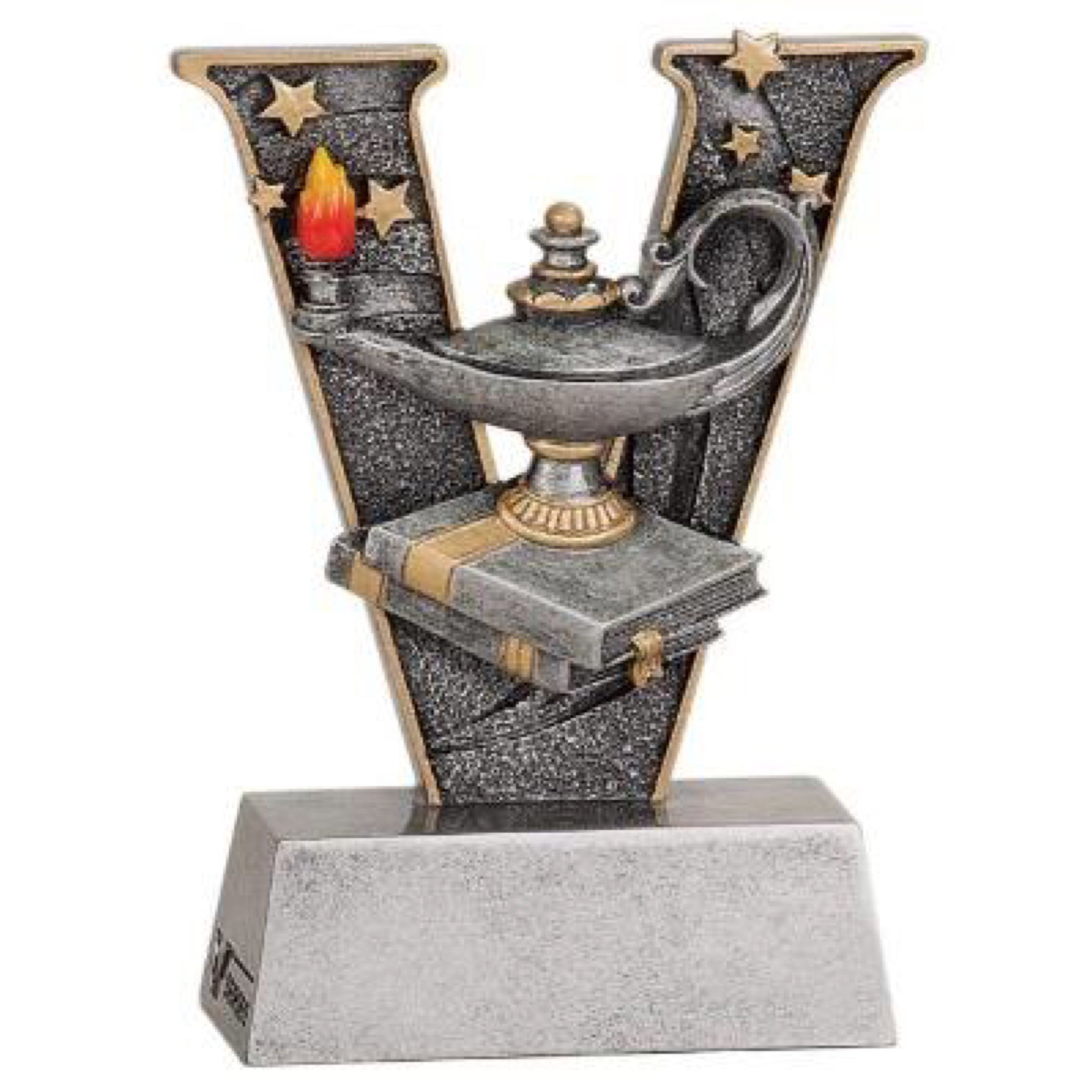 "Letter ""V"" shape trophy featuring a lamp of knowledge sitting on two books."