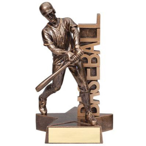"Bronze billboard baseball trophy featuring a star shaped base, a baseball player swinging a bat, and the word ""BASEBALL"" vertically displayed."
