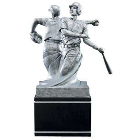 Large silver baseball trophy on a black square base featuring double sided baseball players with their backs to each other. One baseball player is throwing a ball, and the other side features a baseball player swinging his bat.