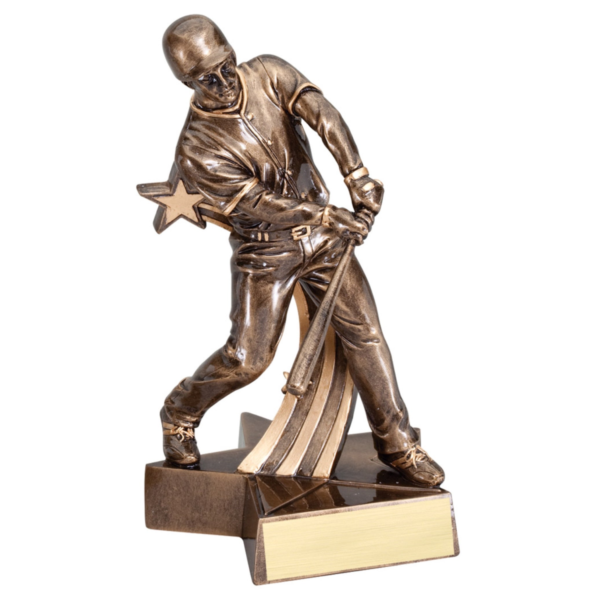 Bronze baseball trophy featuring a baseball player swinging his bat attached to a star shaped base.
