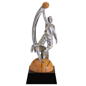 Large basketball trophy featuring a black shiny base and a semi circle basketball with a basketball player standing on top dunking a ball.