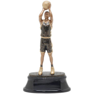 Black and gold basketball trophy featuring an oval shaped base and a basketball player throwing a jump shot.