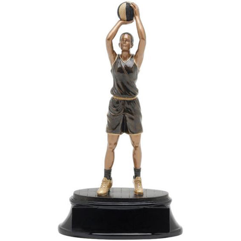 Black and gold basketball trophy featuring an oval shaped base and a female basketball player throwing a jump shot.