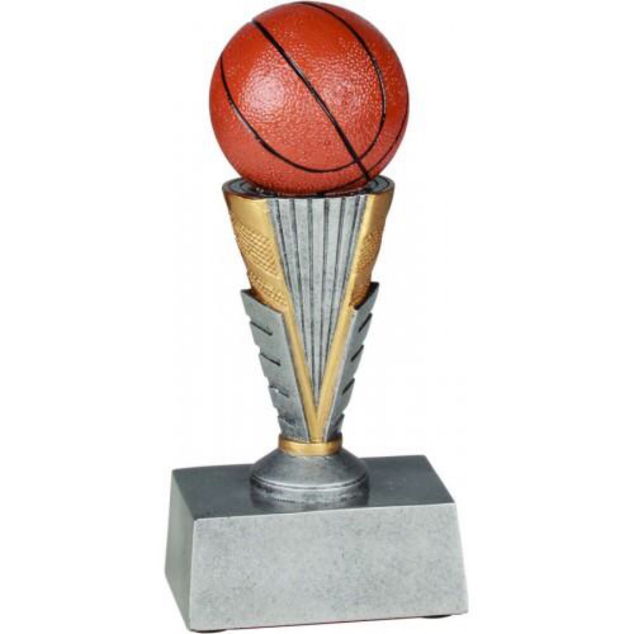 basketball trophy featuring a silver rectangular base and a pedestal with a large orange basketball sitting on top.