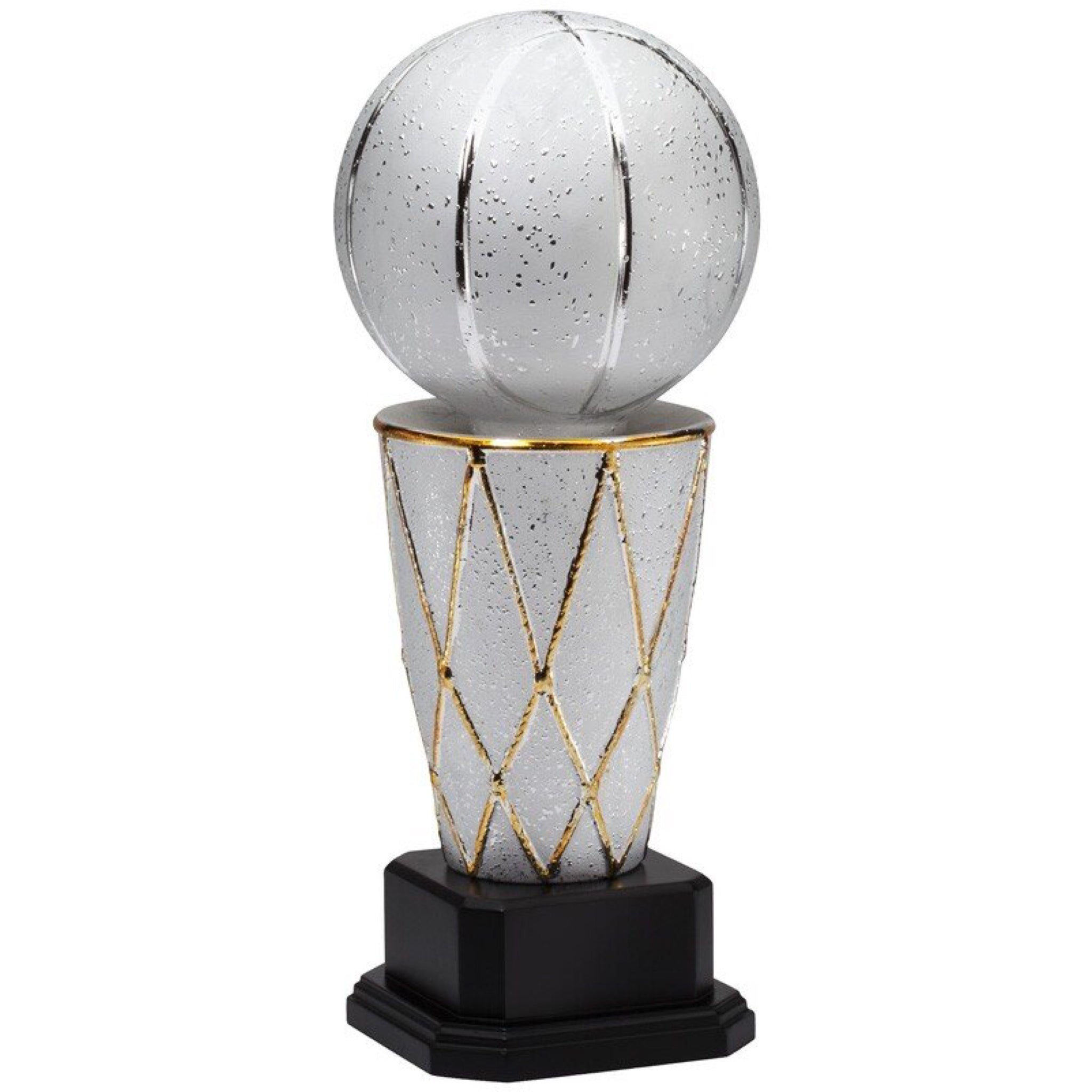 Extra large silver ceramic basketball trophy featuring a black wood base and a tall basketball net with a large shiny silver basketball sitting on top.