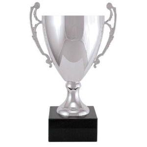 Silver metal cup trophy featuring a thick black square base made of marble. A long cup sits on top with two handles, one on each side.