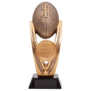 "Large fantasy football award featring a black square base, a gold round medal in the middle that reads ""Fantasy Football"" and a large bronze football at the top held up by two posts."