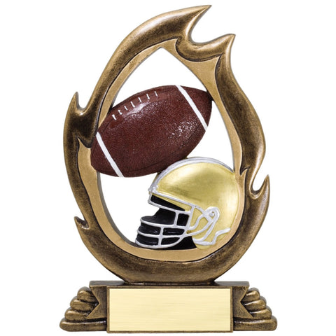 Bronze flame shaped football resin featuring a gold and black football helmet and a brown and white football design inside the flame.