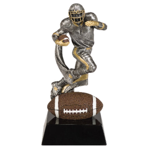 Football trophy featuring a black square base, a brown football at the bottom, and a silver football player running and jumping with a football in one arm.