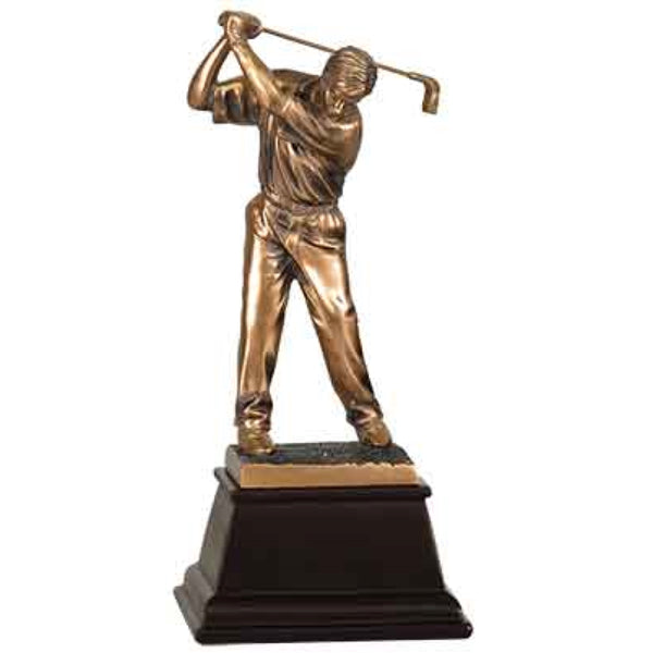 Medium sized bronze golf trophy on a tapered square dark wood base. The bronze male golfer has his head down and his club is behind his head as if he is about to swing it.