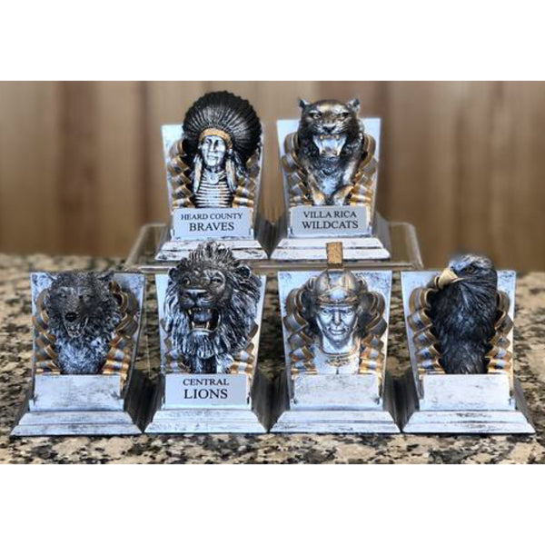 small silver school mascot trophies