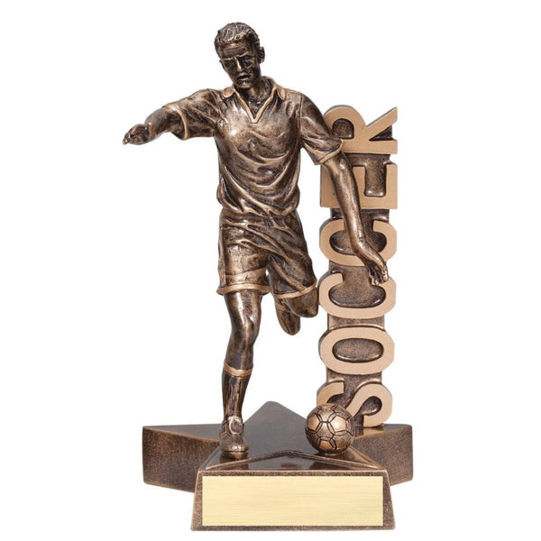 bronze soccer trophy with soccer going down the side of the trophy