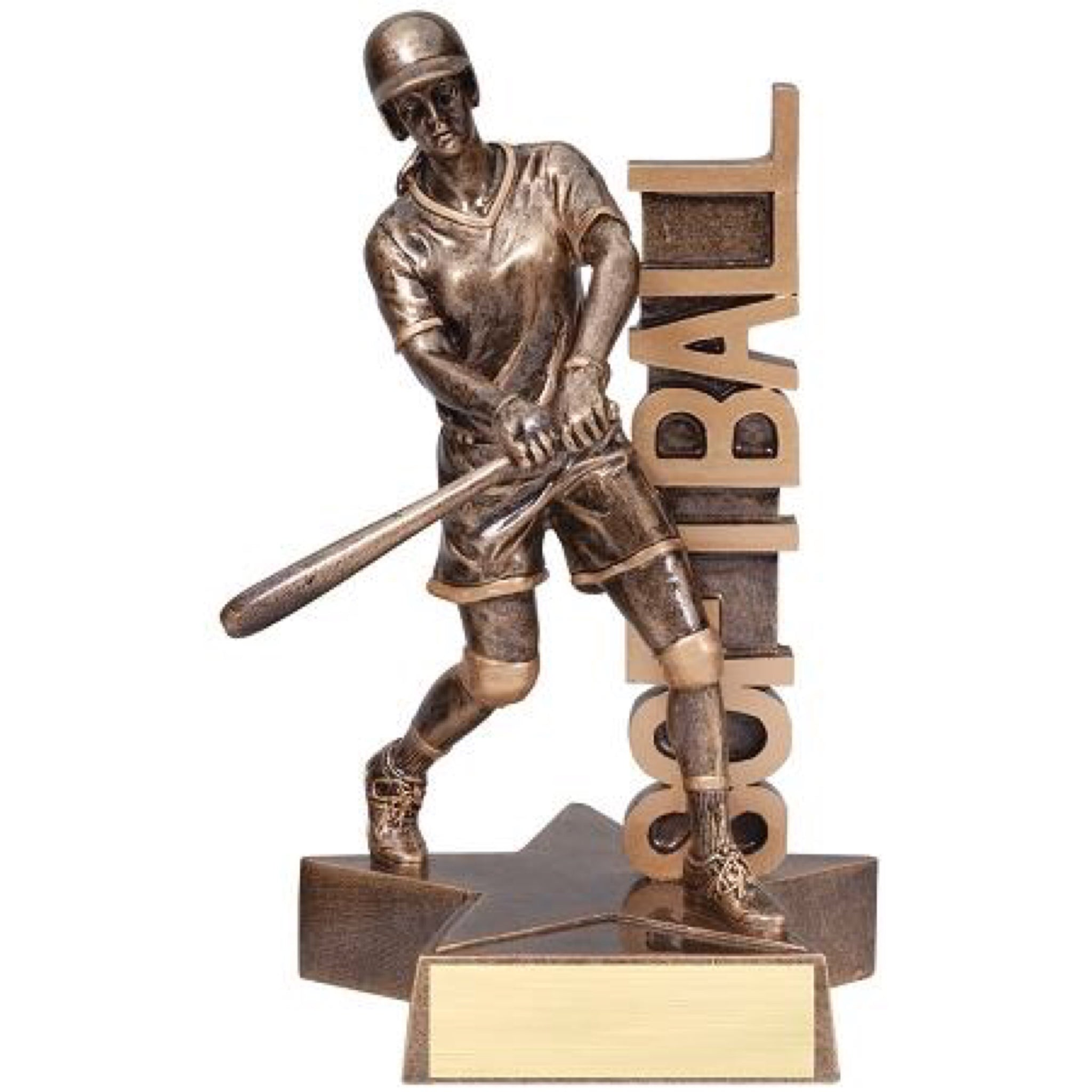 "Bronze softball trophy featuring a star shaped base and a softball player with her bat up. The word ""SOFTBALL"" is displayed behind her vertically."