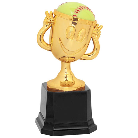 Kids softball cup trophy featuring a square black base and a small gold cup attached. The gold cup has two arms, a happy face, and a softball sticking out of the top of the cup.
