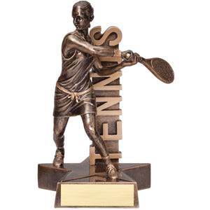 "Bronze tennis trophy featuring a female tennis player in backhand position. The word ""TENNIS"" is displayed behind her vertically."