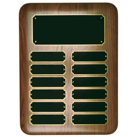 Perpetual Plaque - Genuine Walnut w/ 12 Screwed in Plates