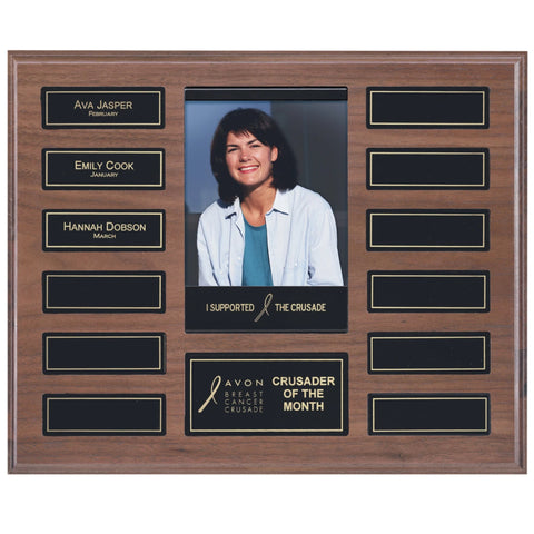 Perpetual Plaque - Solid Walnut w/ Black Magnetic Plates & Pocket Photo