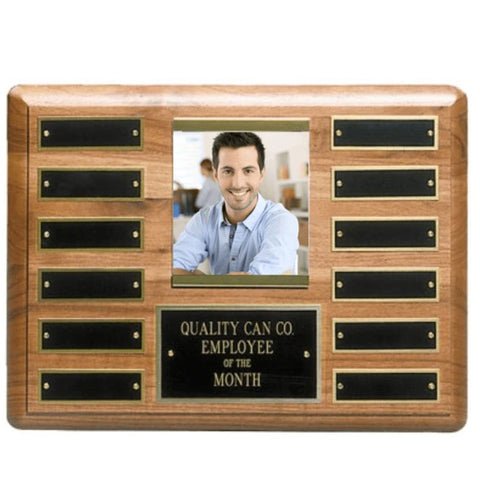 Perpetual Plaque - Genuine Walnut w/ 12 Screwed in Plates & Photo Holder