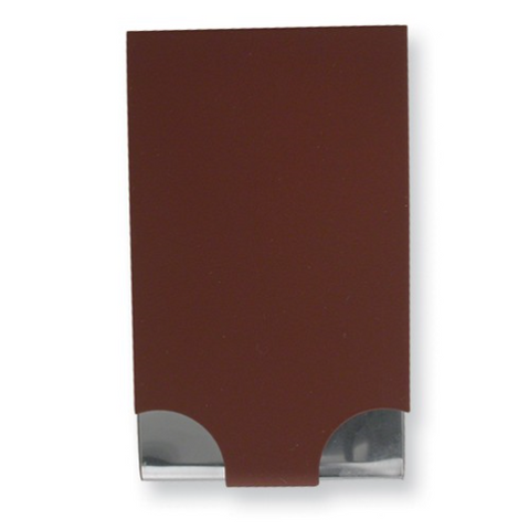 Portable business card case with a maroon cover and shiny silver body.