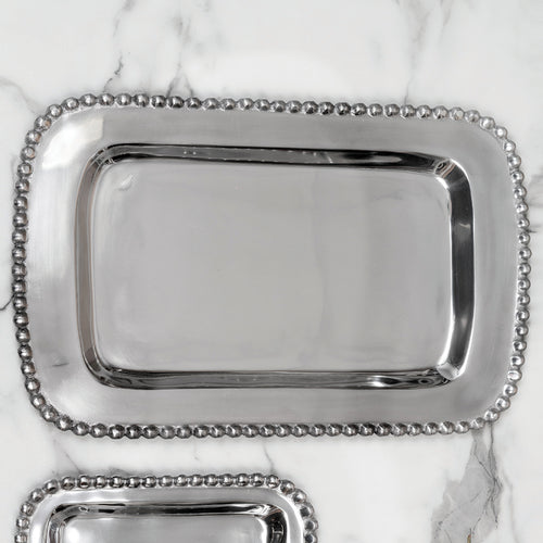Shiny silver large rectangle shaped shaped tray with a beaded edge. Center of the tray can be engraved with a special message.
