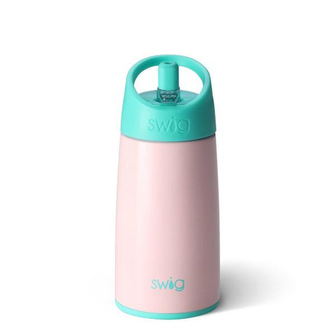 Swig brand 12 oz tumbler with a screw off lid featuring small straw coming out of the top. The tumbler is light pink with a turquoise lid.