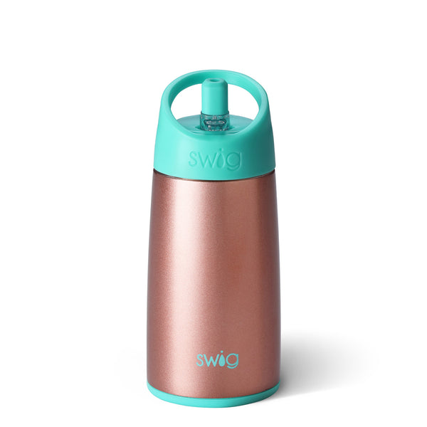 Swig brand 12 oz tumbler with a screw off lid featuring small straw coming out of the top. The tumbler is rose gold with a turquoise lid.