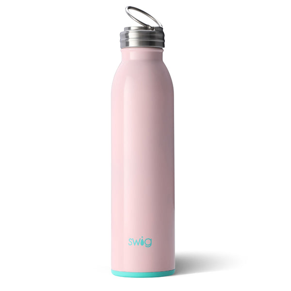 Swig brand 20 oz bottle tumbler featuring a screw off lid. The tumbler is light pink.